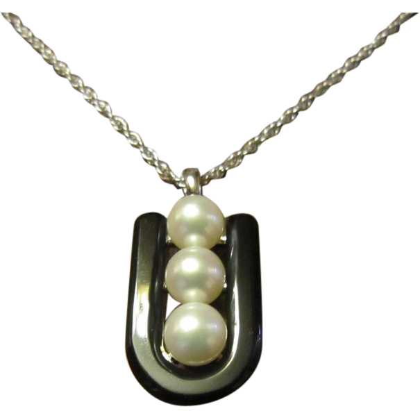 ON HOLD: Mikimoto Onyx Horse Shoe with 3 Cultured Pearls Sterling Necklace