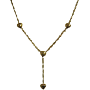 14K Tiny Yellow Gold Heart Chain Necklace