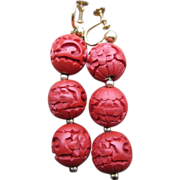 Chinese Cinnabar Earrings