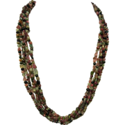 Multi Color 5 Bead Strand Tourmaline Necklace, Sterling Fittings