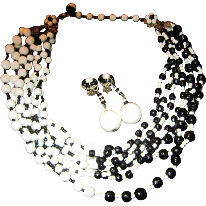 Miriam Haskell Black and White 7 Strand Bead Necklace and Earrings