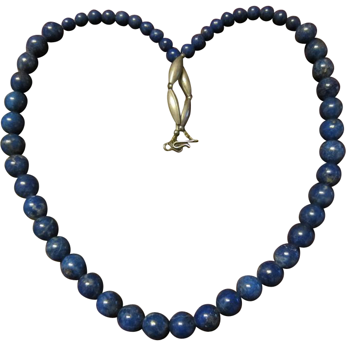 Native American Lapis Lazuli Bead Necklace with Sterling Beads and Fittings