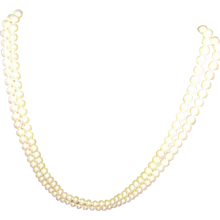 Glass Based Knotted 7mm Pearl Necklace 60""