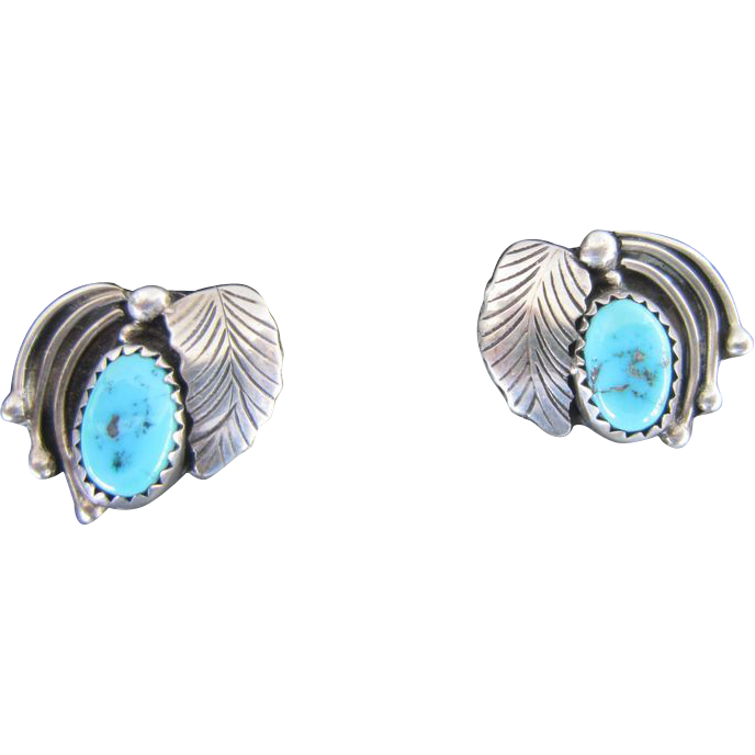 Navajo Small Earrings Morenci Turquoise Sterling With Posts