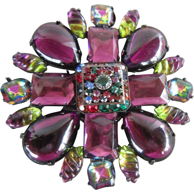 Vrba Brooch with Faux Amethysts, Purple and Green Art Glass and Margaritas