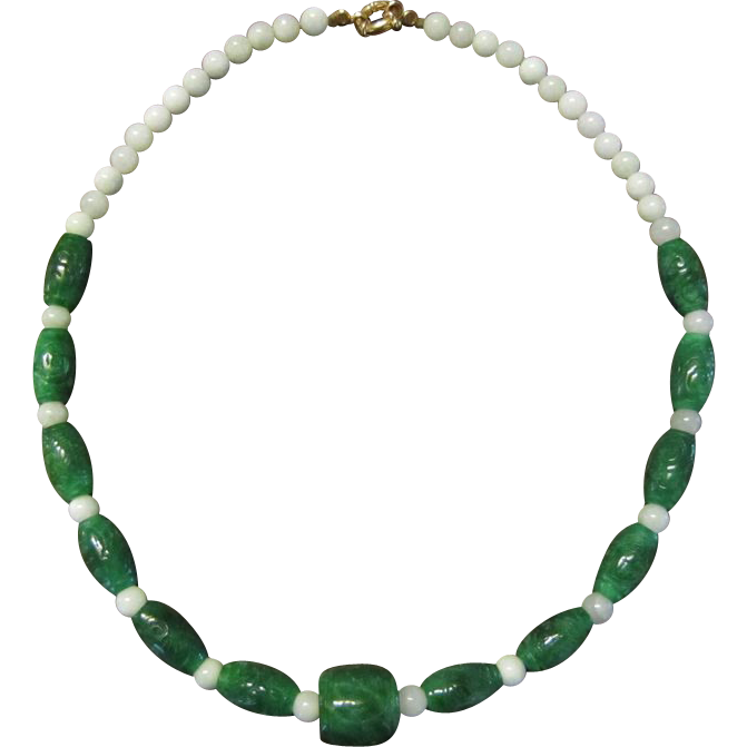 Jadeite and Chrysoprase Bead Necklace