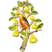 Cadoro's Christmas Partridge in a Pear Tree Brooch