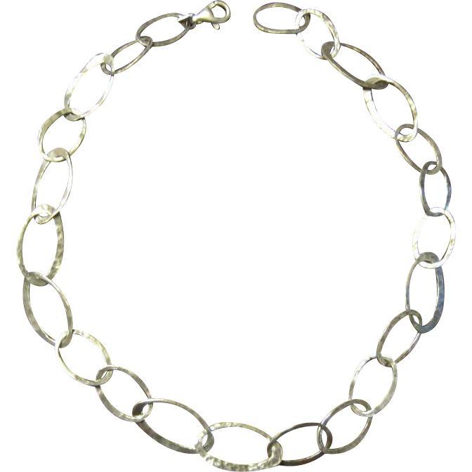 Hand Hammered Sterling Link Necklace