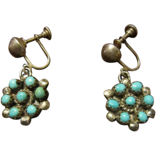 Early Zuni Snake Eyes Turquoise Earrings: Choice of Screw Back or Shepherd's Hook