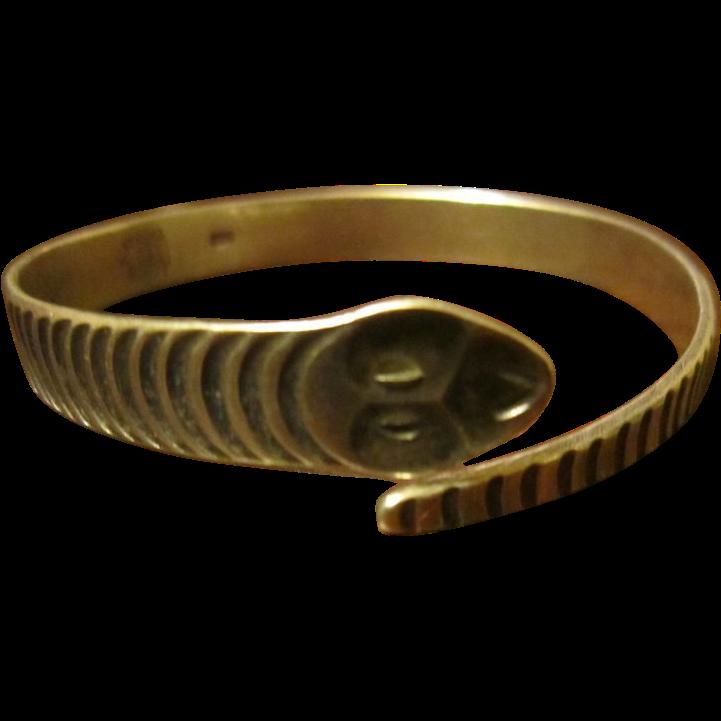 Modernist German Snake 835/1000 Silver Bangle Bracelet by Deodat Von Kliest