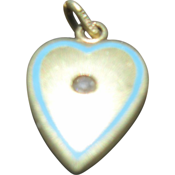 Small 14K Gold Heart Charm with Blue Enamel and Tiny Diamond