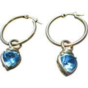 14K Yellow Gold Hoops with Removable London Blue Topaz 14K Yellow Gold Drops - For Pierced Ears