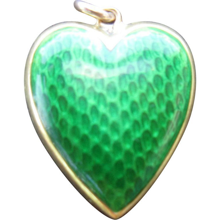 14K Gold Heart Charm with Green Guilloche Enamel on Both Sides