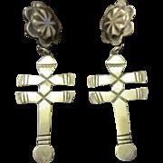Linda Marble, Navajo, Sterling Concho Tops and Drop Isleta Cross Earrings for Pierced Ears