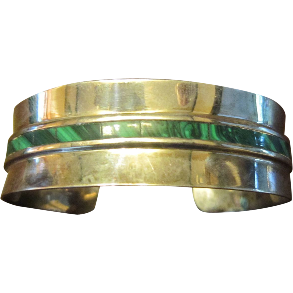 Taxco, Mexico Sterling Cuff with a Strip of Malachite Stones