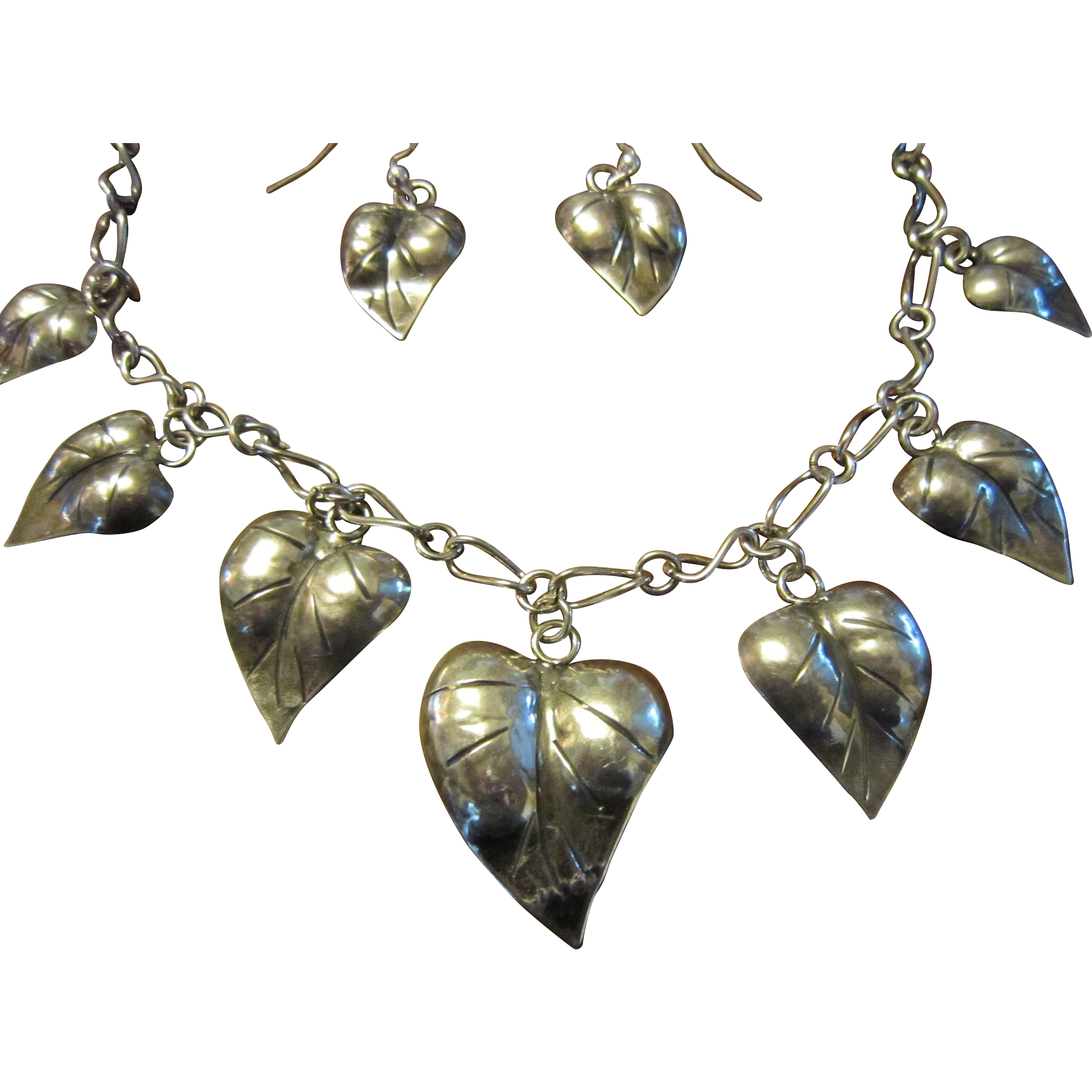 Hand Made American Studio Sterling Heart Necklace and Earrings - Mid Century
