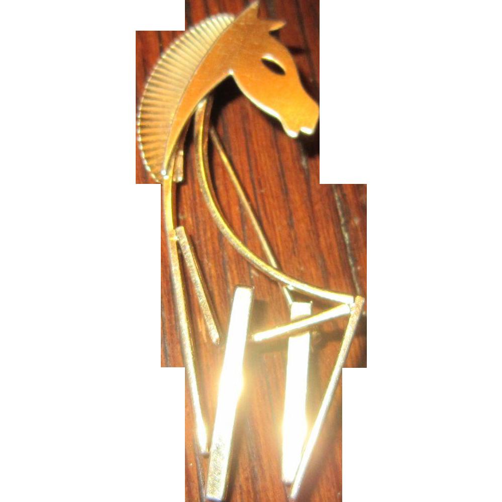 Beau Vermeil Sterling MCM Horse Brooch