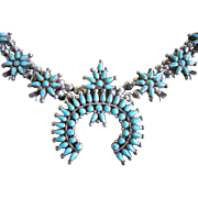 SALE $200 OFF: Zuni Squash Blossom Necklace with Lone Mountain Turquoise and 900/1000 Silver