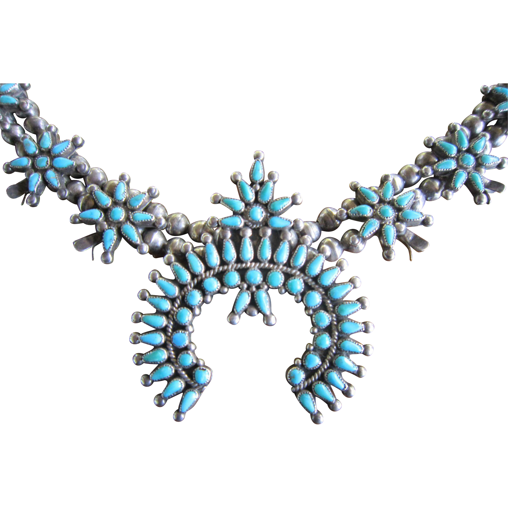 Zuni Squash Blossom Necklace with Lone Mountain Turquoise and 900/1000 Silver