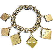 Elco Gold Filled Charm Bracelet and 6 Locket Watch Fobs from 1900 - 1925