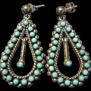 Zuni Turquoise Drop Sterling Earrings