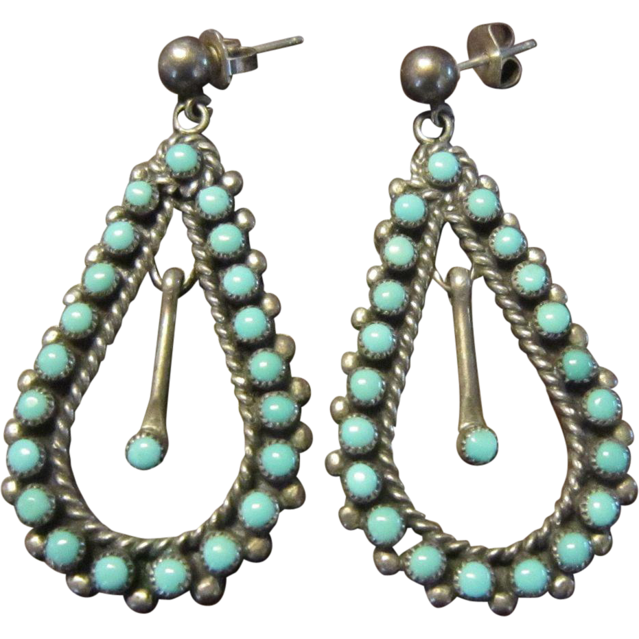 Zuni Turquoise Drop Sterling Earrings