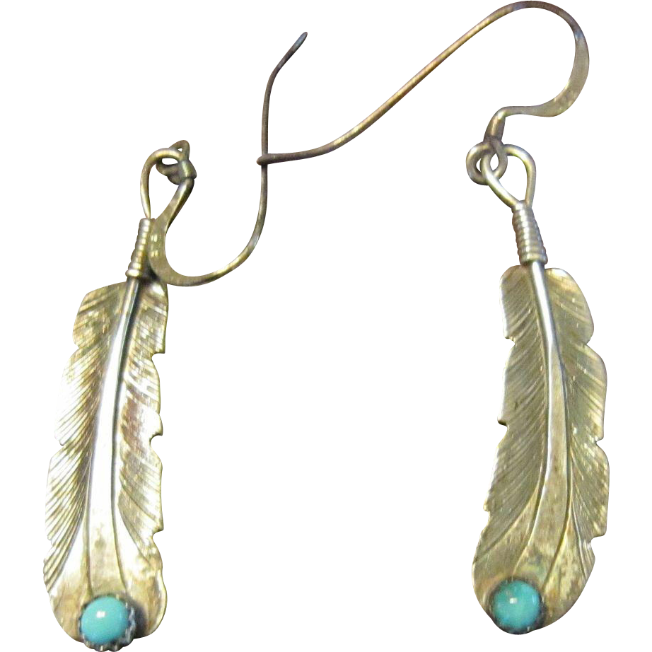 Native American Sterling Feather Earrings with Turquoise