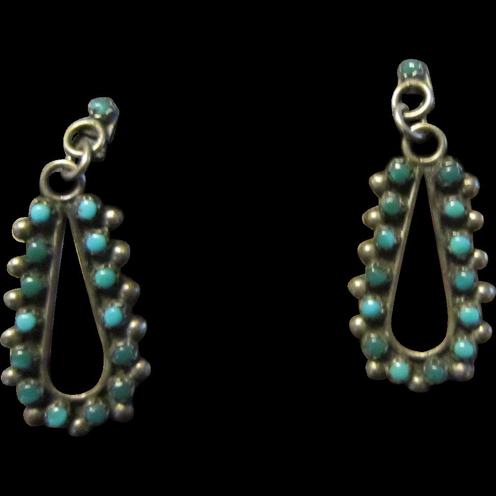 Dainty Zuni Sterling and Snake Eyes Turquoise Stud Earrings - Harvey Era