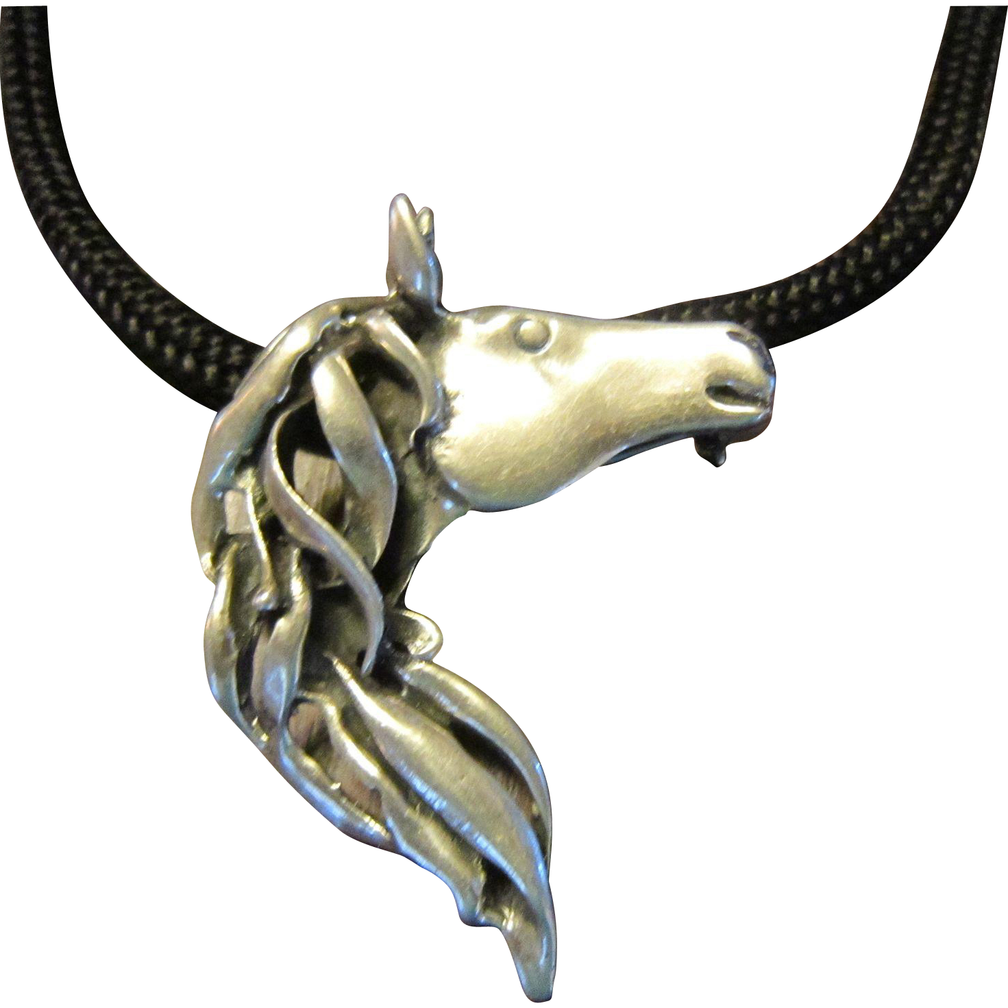 SOLD TO M: Sterling Horse Pendant/Brooch on Black Cord with Sterling Fittings