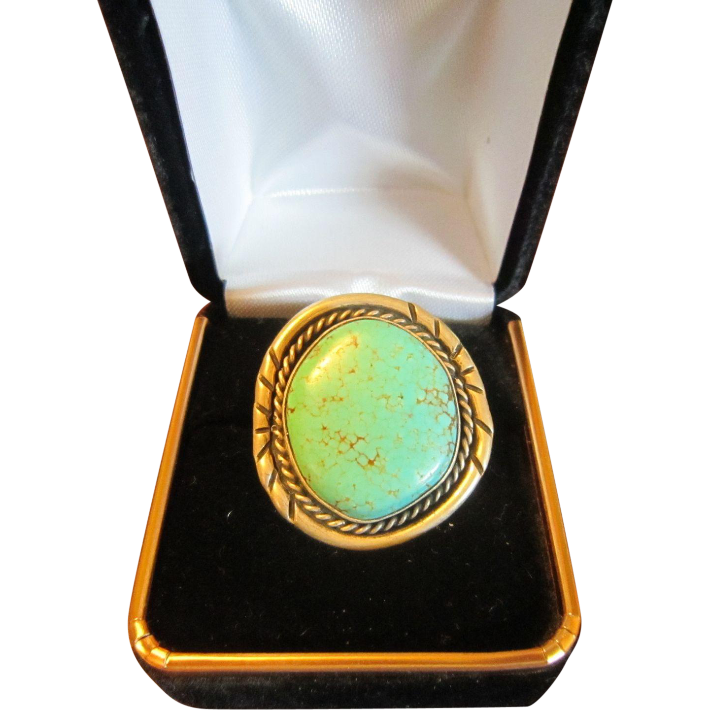 Navajo Sterling Ring with Large Carico Lake Turquoise