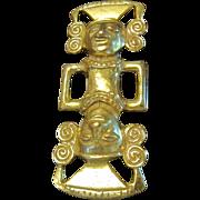 Vrba for Castlecliff Aztec God Mirror Image Gold Plated Brooch