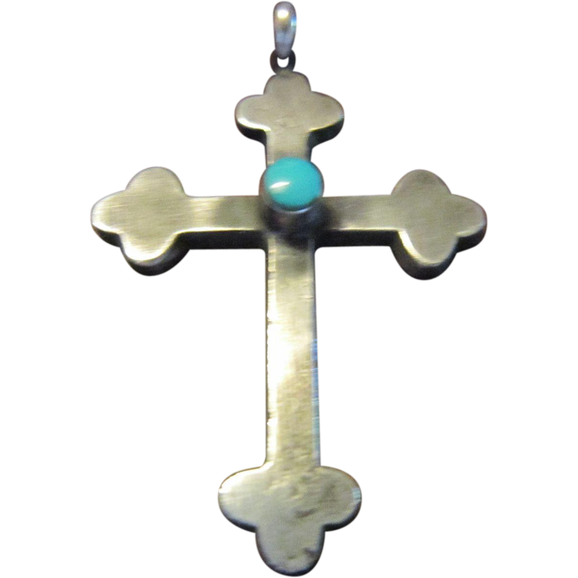 Sterling and Turquoise Botonee Cross by a Native American Artisan