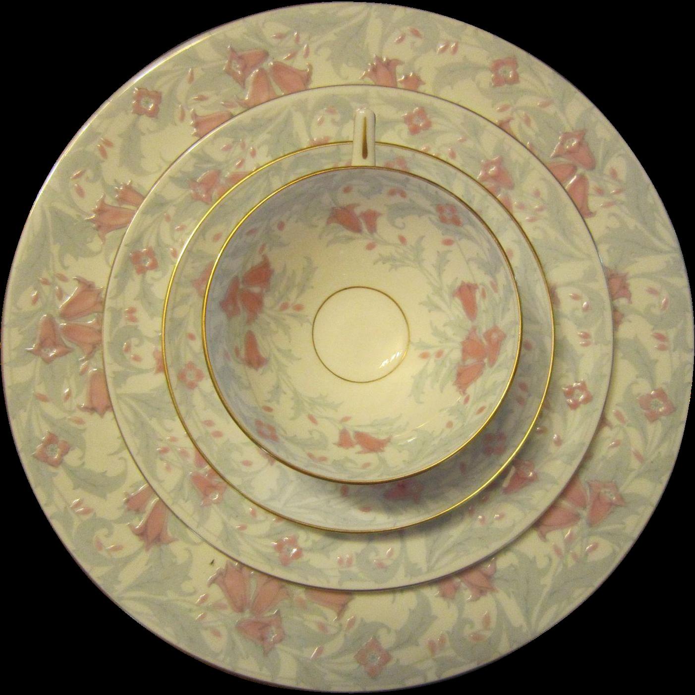 SALE $400, was $800: Bone China 4 Piece Set in the Debutante Pattern X 11 Sets