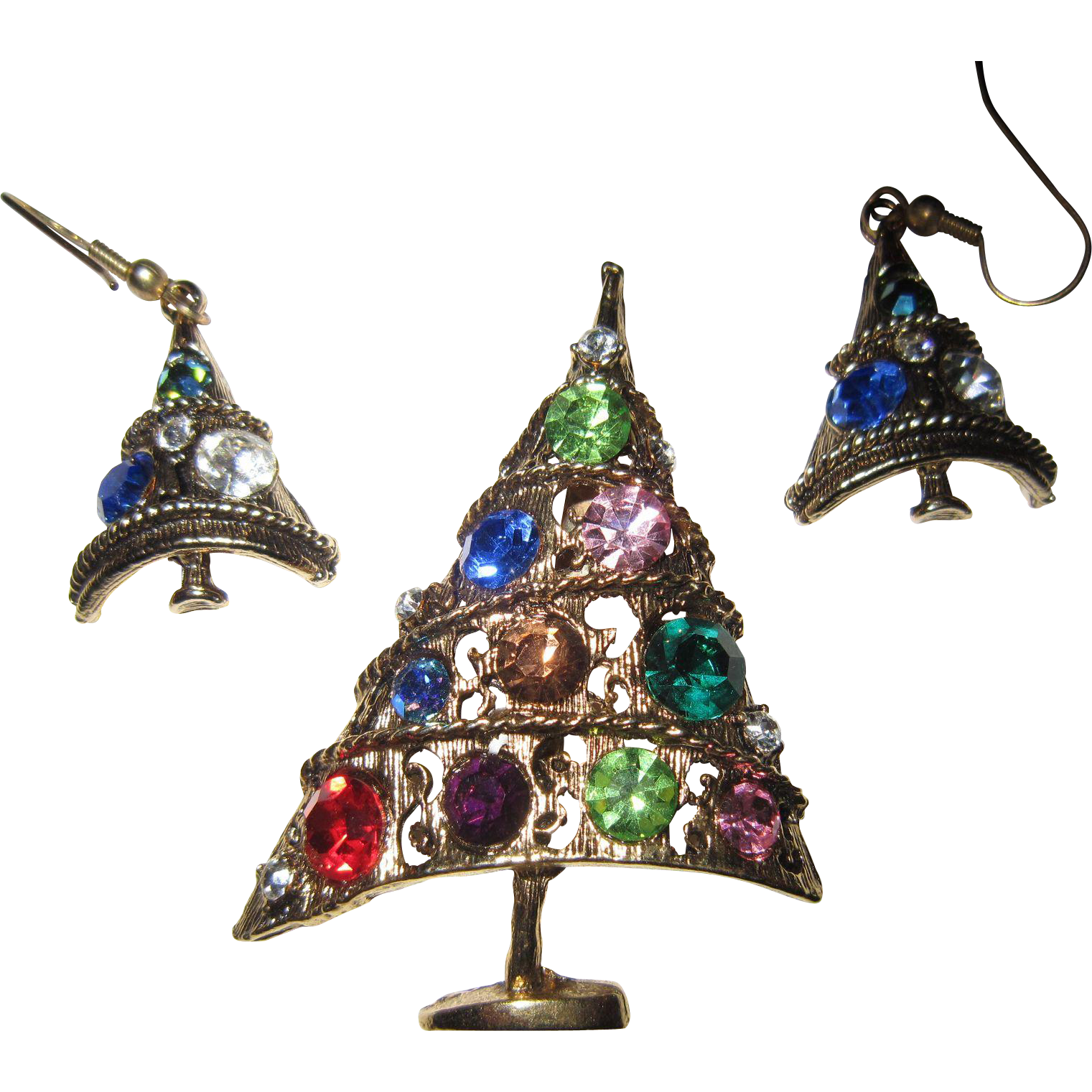 Weiss Angled Christmas Tree Brooch and Earrings - Multi Colored Big Rhinestones