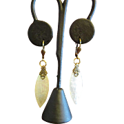Antiqued Gold Tone Metal and Chinese Mother of Pearl Game Chip Drop Earrings