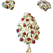 English Company Sphinx  Christmas Tree Brooch and Earrings - Book Piece
