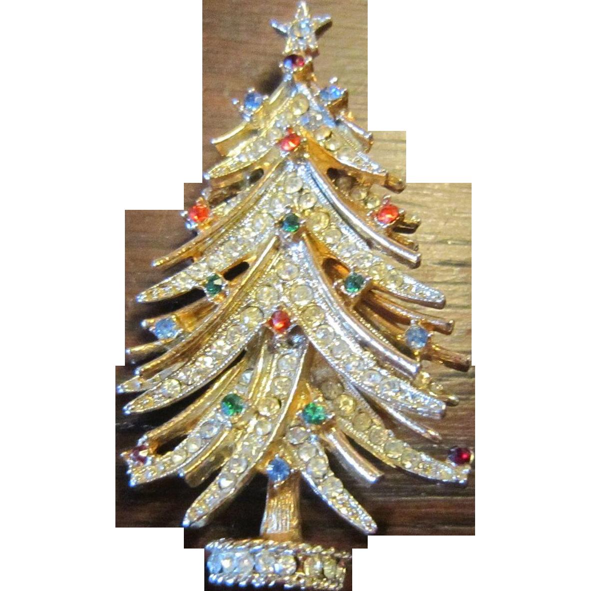Signed ART Christmas Tree Brooch - Book Piece