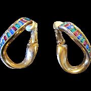 Swarovsky Holiday Twisted Hoop Earrings