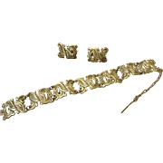 Taxco Sterling Link Bracelet and Earrings by M Ocampo