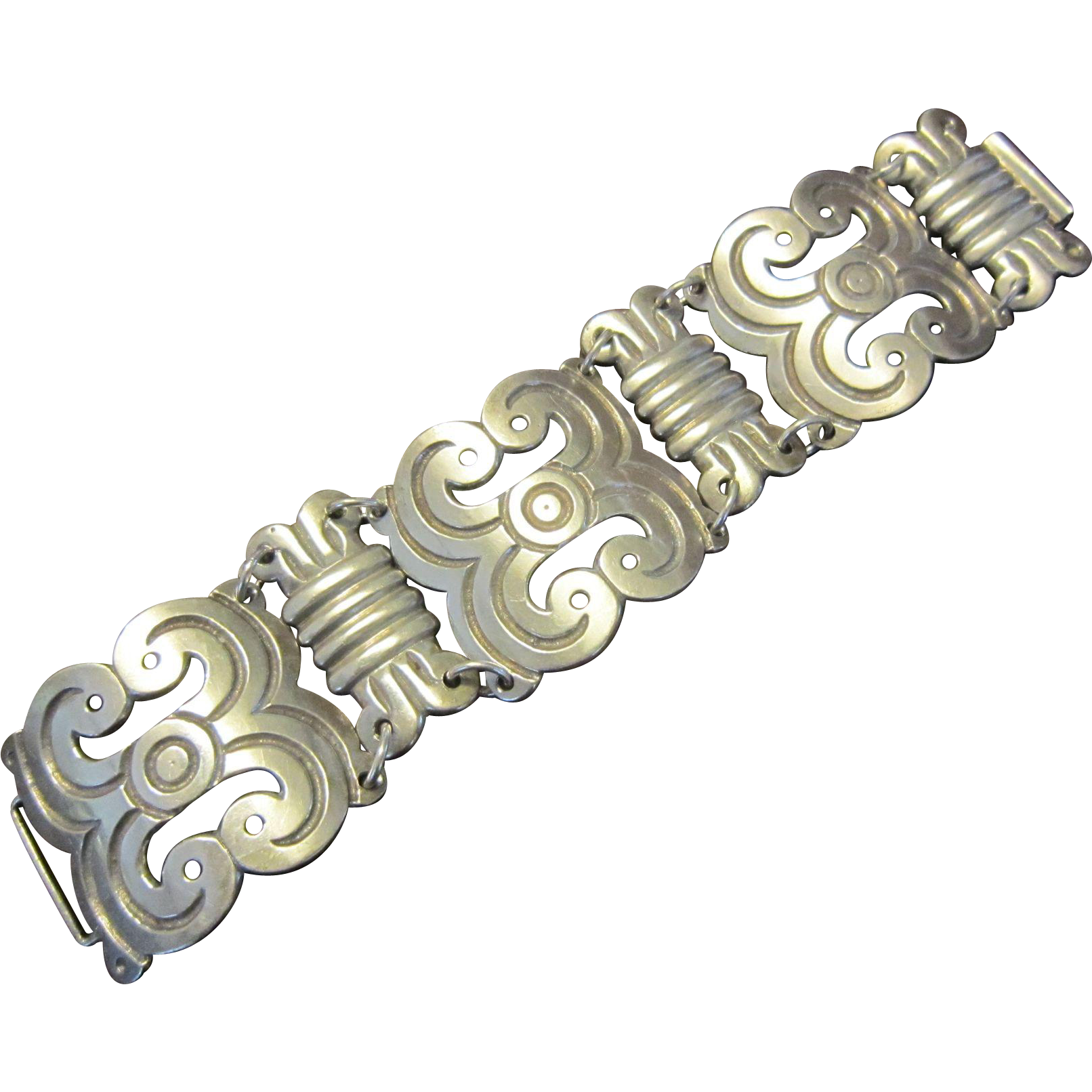 Old Mexican Sterling Mayan Style Link Bracelet.