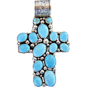 Nakai Mixed Blue Turquoise Sterling Cross with Large Bail