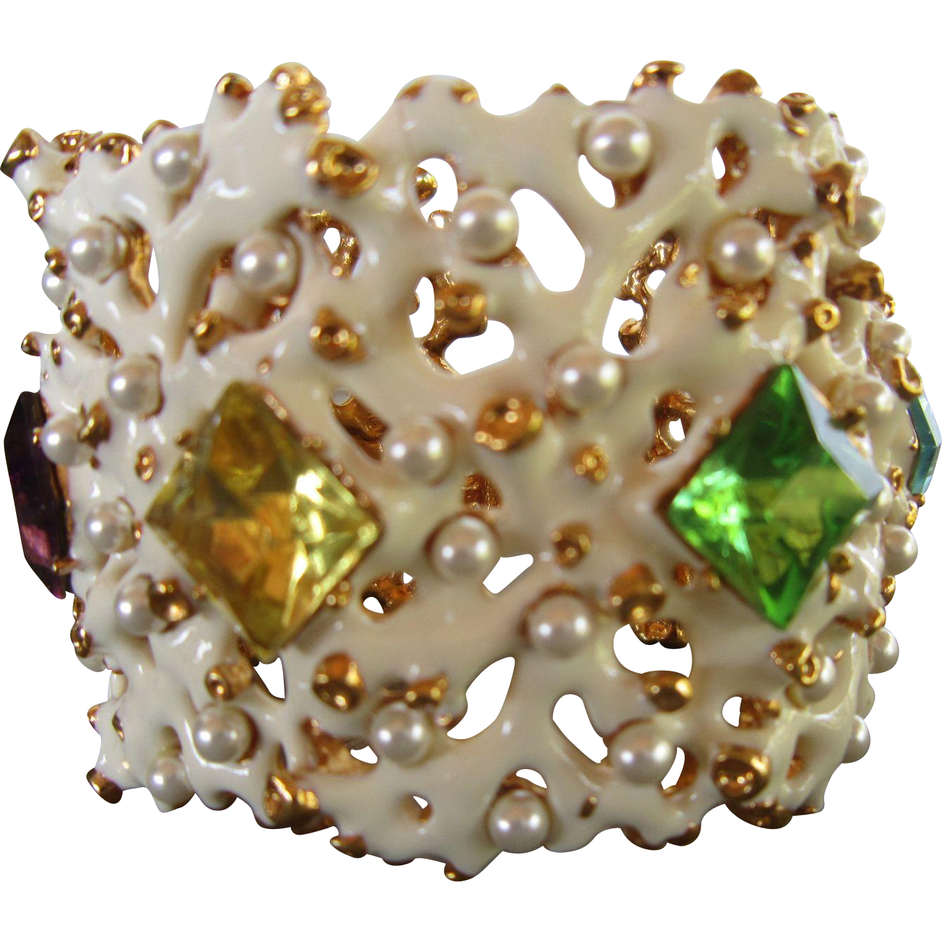 Kenneth Jay Lane Hinged Bracelet with White Enamel Coral Shapes, Large Glass Stones, Faux Pearls and Gold Metal Beads
