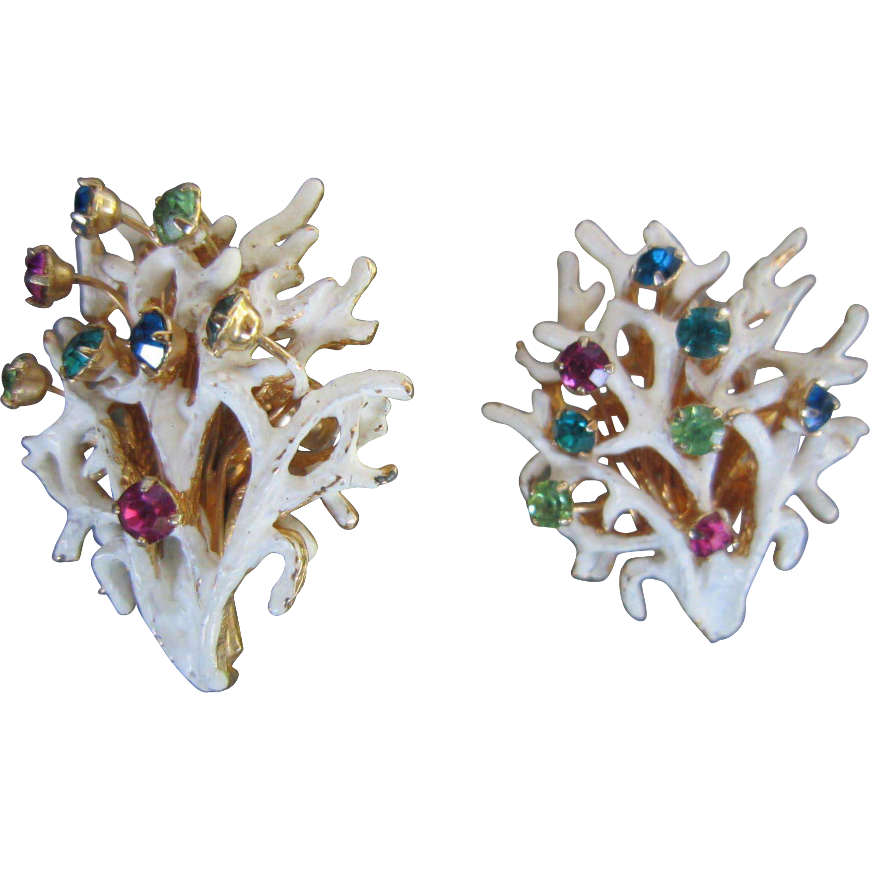 Castlecliff White Coral Shapes with Rhinestones Earrings