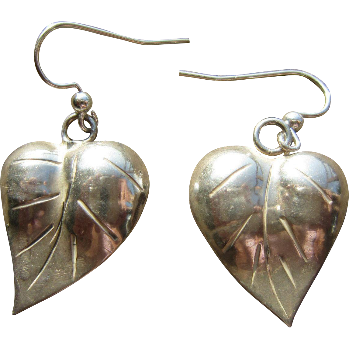 Studio Sterling Earrings Heart Leaf Shapes