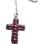 Bohemian Rose Cut Garnet Cross with Gold Gilt Chain
