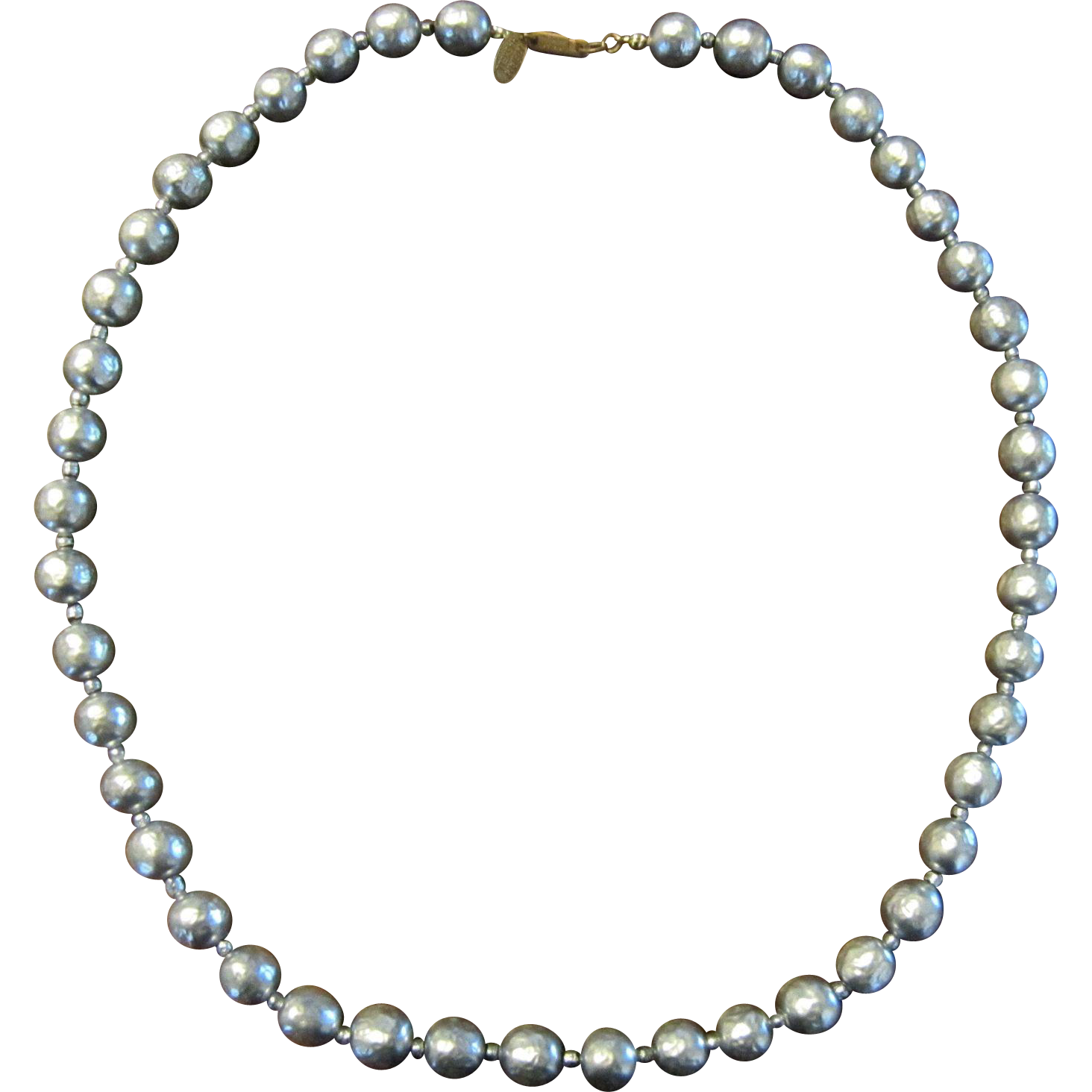 Miriam Haskell Baroque Silvery Faux Pearl Necklace
