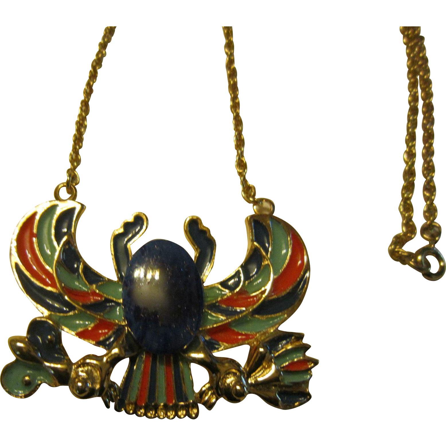 Sphinx Scarab Enamel and Gold Tone Necklace
