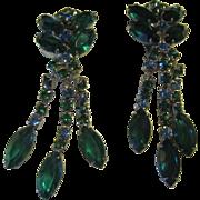 Holiday Green Rhinestone Dangling Earrings
