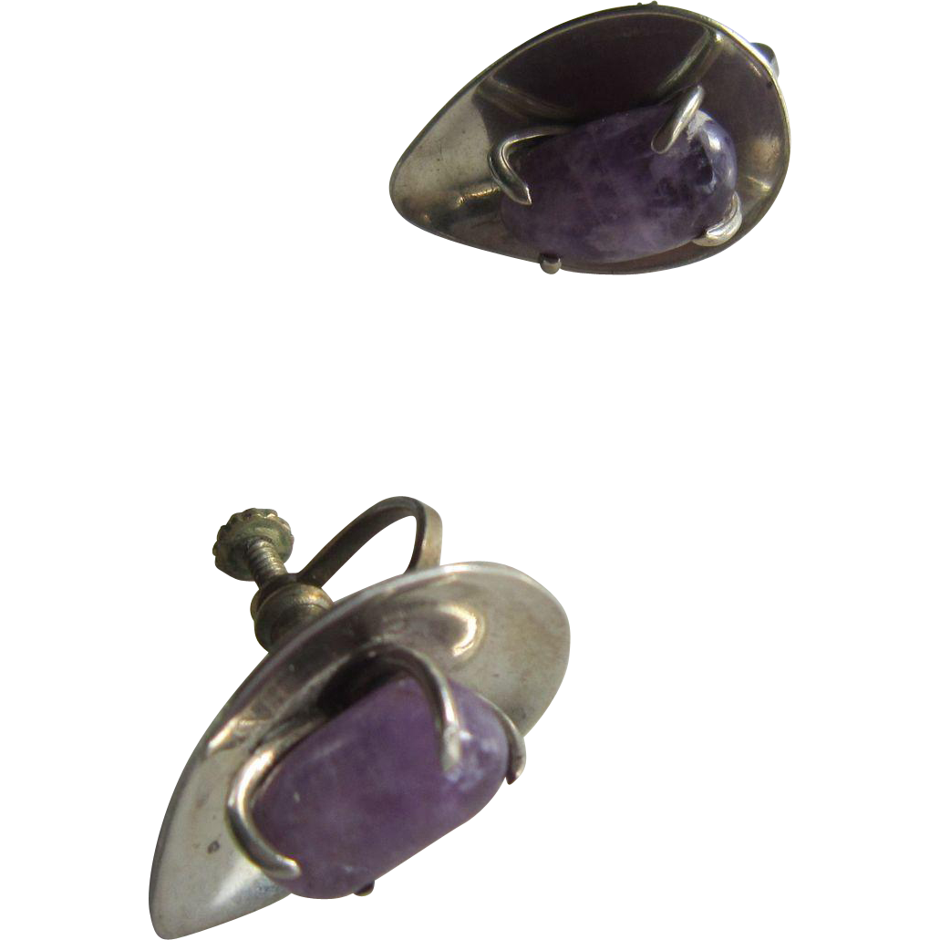 J Sotelo, Taxco, Amethyst Stone in a Sterling Tear Drop Shape