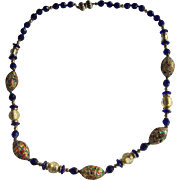 Murano, Venice Gemmato Necklace with Gold Foil and Dark Blue Beads